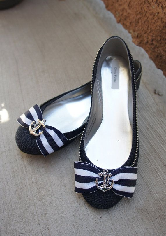 Olivia Paige - Navy Sailor Anchor Pin Up style Shoe Clips on Etsy, $12.00