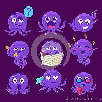 Vector Illustration about Blue Octopus Emoji Vector Set