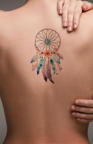 Watercolor Dreamcatcher Back Tattoo ideas for Women - Popular Feminine Beautiful Small Spine Tat for Teenagers - Pluma de acuarela Ideas de tatuaje de espalda para mujeres - www.MyBodiArt.com