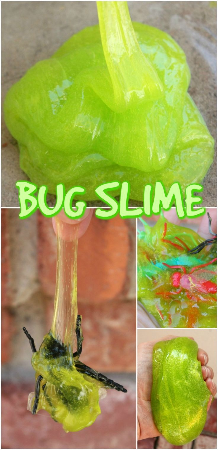 Bug Slime Easy DIY Slime Recipe For Kids. Green Ooze Slime made with Borax or Without Borax. Best Slime Recipe. Great Sensory Play Activity  via @mellisaswigart
