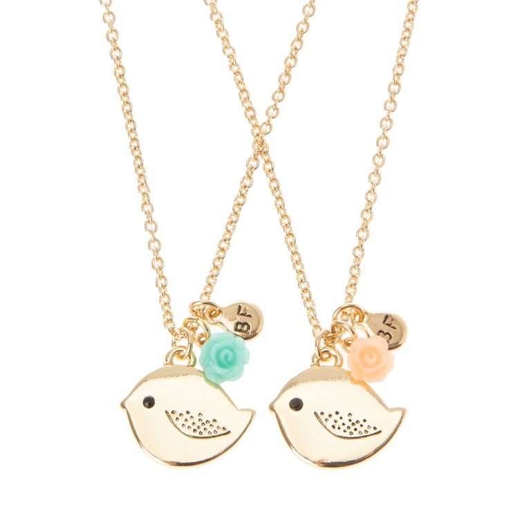 <P>Give your best friend one of these cute best friend necklaces. Small gold bird pendant with coral and blue charm.</P><UL><LI>Set of 2 <LI>Lobster clasp fastening<LI>Best Friend Jewelry<LI>Bird pendant</LI></UL>