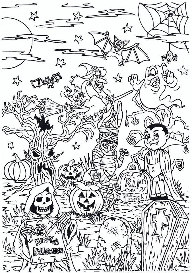 Enge Halloween Kleurplaten.Halloween Kleurplaten Inkleuren Brekelmansadviesgroep
