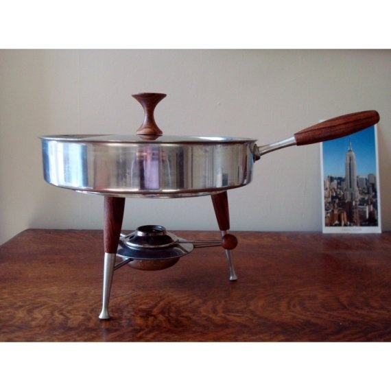 Mid Century Modern Chafing Dish with Teak Details - Made in Japan @justsmashingdarling.etsy.com  $48.00  #mod #mid century  I love this!!