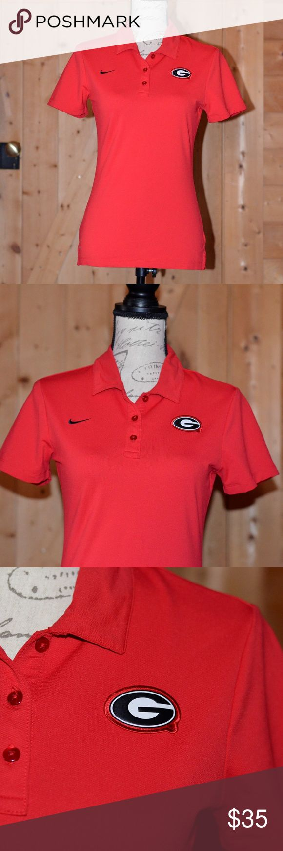 MAKE AN OFFER- NWOT Georgia Bulldogs Nike polo Root for your SEC champs and get ready for the college football playoff game with this Nike GA Bulldogs polo shirt! This is a NWOT Georgia Bulldogs Nike Dri-Fit polo shirt, and the Nike check and GA logos are embroidered, not applique. Only tried on, couldn't take back. Size small. Feel free to make an offer or to ask questions! Nike Tops
