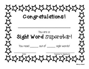 This certificate can be used to motivate students to pass off sight words, high frequency words, fry words, etc.  I have included a full sheet certificate and quarter sheet certificates to save paper.  These certificates can be used with any sight word program you are already using in your classroom.