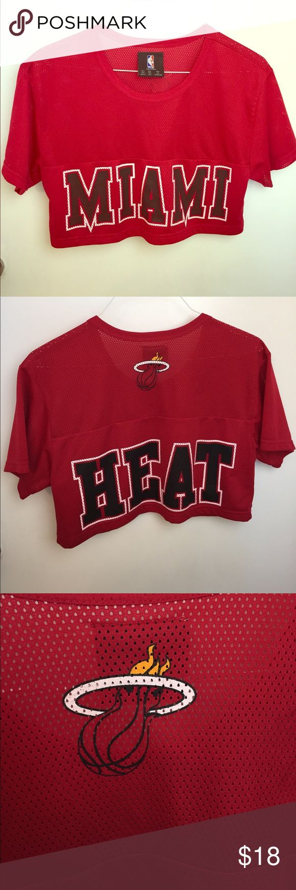 Miami Heat official NBA crop Jersey hip hop team Miami Heat basketball cropped Jersey tag size S oversized . Item is used but very minima signs of wear. Great to show your team support or hip hop style. NBA Tops Crop Tops