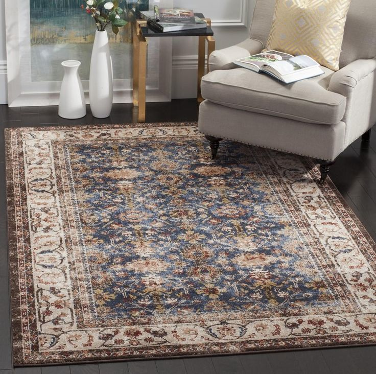 """BIJ650B Rug from Bijar collection. The fine artistry and craftsmanship of Kurdish rug makers is recreated in the Bijar Collection, also known as """"the iron rugs of Persia."""" Traditionally styled but with an modern sense of vogue colors and high-touch texture. Large Persian motifs call attention to the brilliant, earth-tone hues and vibrant blue highlights that fill the soft, ornate pile. The ideal floor coverings to accentuate living room or dining room decor."""