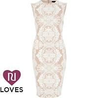 River Island - Pink lace print sleeveless midi pencil dress