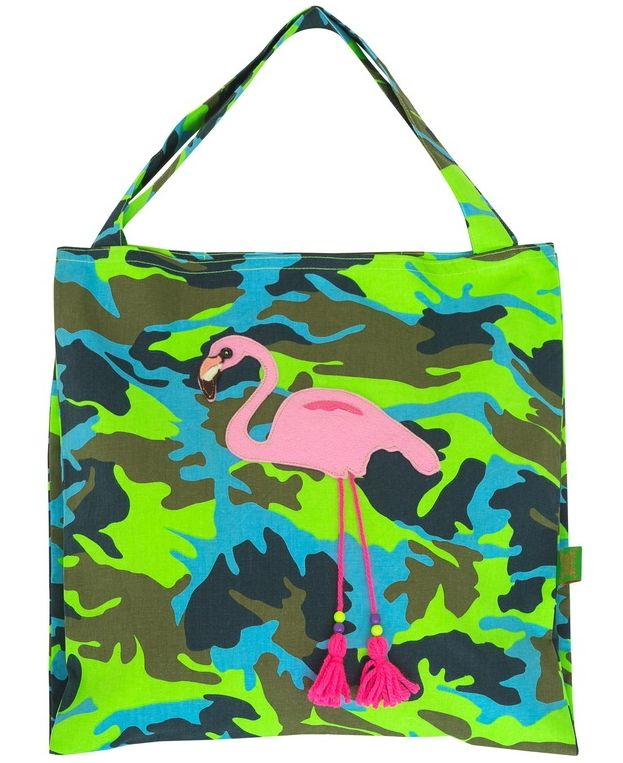 Bag in camouflage with funky flamingo appliqué