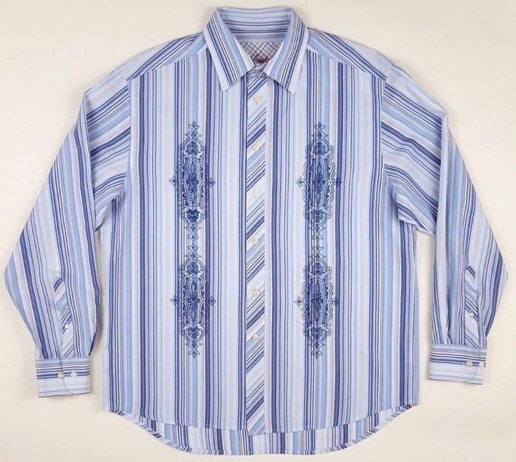 ROBERT Graham LARGE Shirt MENS Striped BLUE White EMBROIDERED Sz COTTON Size MAN #RobertGraham