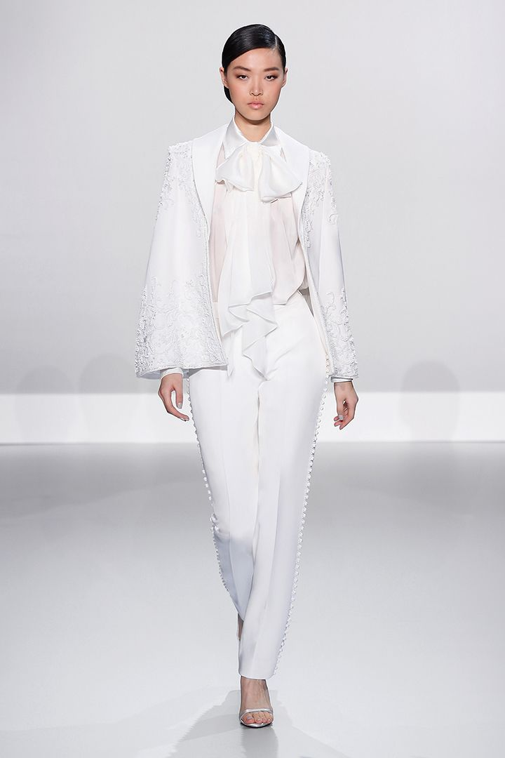 Ralph & Russo - Haute Couture Collection S/S14  Look 05: White silk crepe trousers with satin chiffon tuxedo blouse and embellished cape
