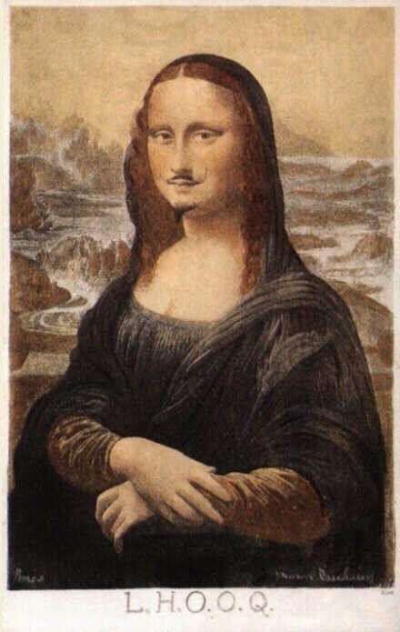 "In 1919, artist Marcel Duchamp used a pencil to draw a mustache and a beard on a cheap postcard reproduction of Leonardo da Vinci`s iconic portrait, ""Mona Lisa""."