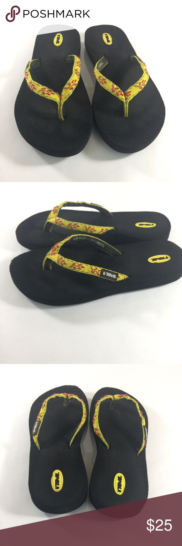 Teva Flip Flop Sandals Yellow Size 5 Up for sale is this great pair of Teva embroidered sandals! Bright yellow with red and green detail!  Women's Size 5  CONDITION: Good Condition! Some signs of normal wear. Teva Shoes Sandals
