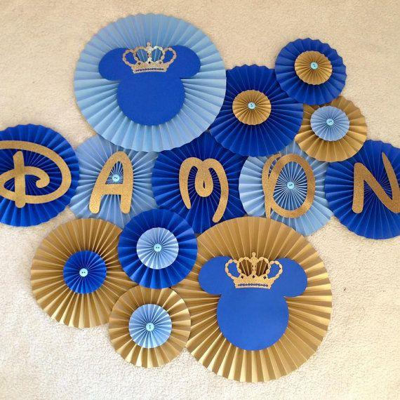 Mickey Prince Fan Set- Set of 13, Prince Baby Shower, Prince Birthday, Mickey Prince Backdrop