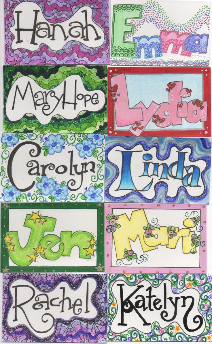 Name tag craft ideas - Name Tags I Drew For Kids I Work With