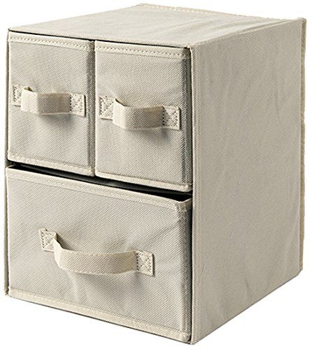 Linea Più 0386B Easybox, Scatola Custodia TNT, cm 25X25, H 33, 3 Cassetti, Ecru