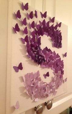 3D Butterfly Wall Art , Purple Ombre, Alphabet Letter S, Nursery Art, Baby Girl