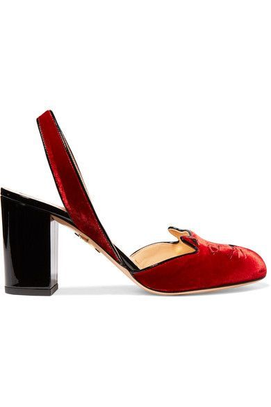 Charlotte Olympia - Kitty Embroidered Patent Leather-trimmed Velvet Pumps - IT39.5