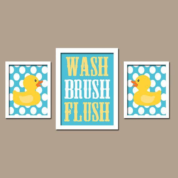 Rubber Duckie Duck Bath Yellow Blue WASH Brush Flush Polka Dots Set of 3 Trio Prints Decor WALL ART Boy Girl Bathroom