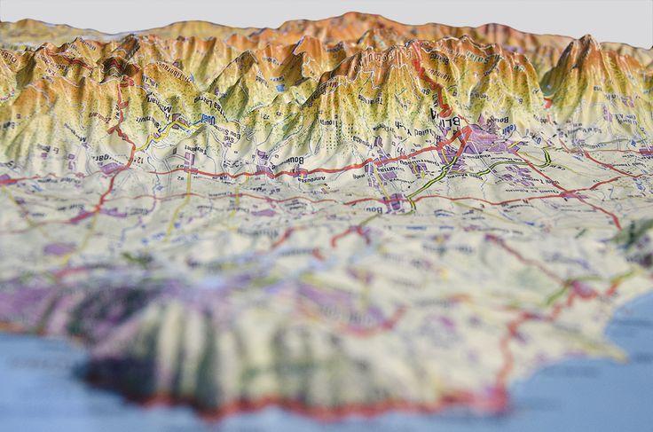 Detalle de mapa en 3D de Argelia. / Detail from map of Algeria.