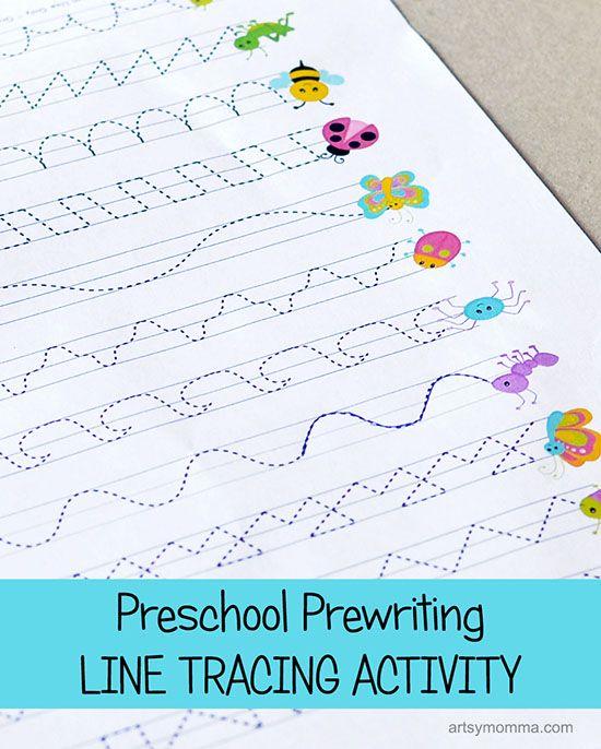 Preschool Prewriting Line Tracing Printable Activity - Bug Theme