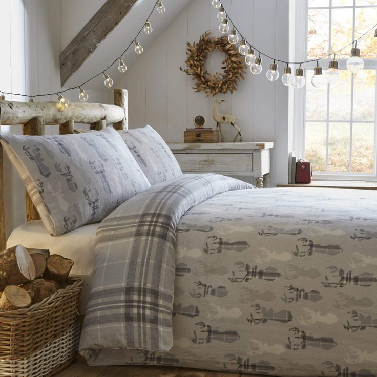 Fusion Tartan Stag Brushed Cotton Reversible Duvet Cover Set - Grey Christmas Bedding Bedroom
