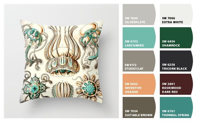 A personal favorite from my Etsy shop https://www.etsy.com/listing/294311173/jellyfish-pillow-ernst-haeckel-coastal