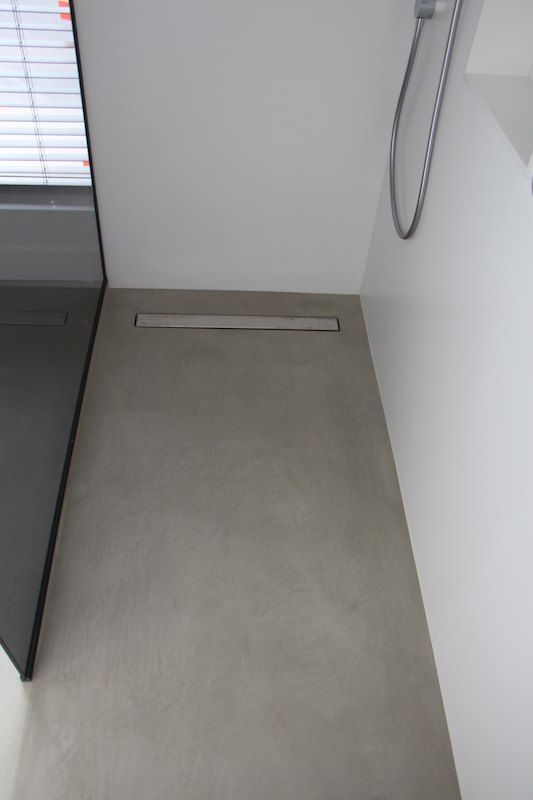 Polished Plaster floor Shower glass dark and floor mortex® Voor plaatsing en ideeën chajuwan bvba.be