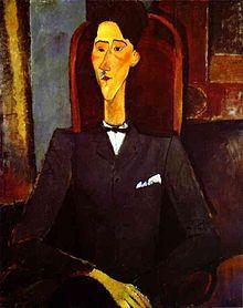 Jean Cocteau par Modigliani, 1919. - En 1912, Serge de Diaghilev, dont les Ballets russes enchantent Paris, et Igor Stravinski, travaillant au Sacre du Printemps, l'incitent par leur exemple à rompre avec la poésie traditionnelle. Pendant la guerre de 1914, il se lie avec Roland Garros et pratique avec lui l'acrobatie aérienne. En 1916 il fréquente Montparnasse avec Modigliani, Apollinaire, Max Jacob, Blaise Cendrars, Pablo Picasso