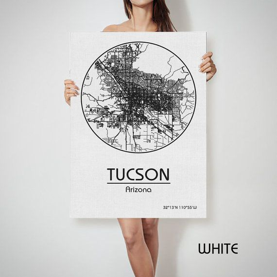 TUCSON Arizona City Map Art Print United States by ArchTravel