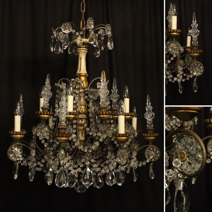 New arrival... very beautiful and decorative Italian giltwood antique chandelier with glass prismatic spikes and cut glass pendants.
