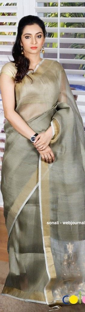 Handwoven linen saree - coloroso.in
