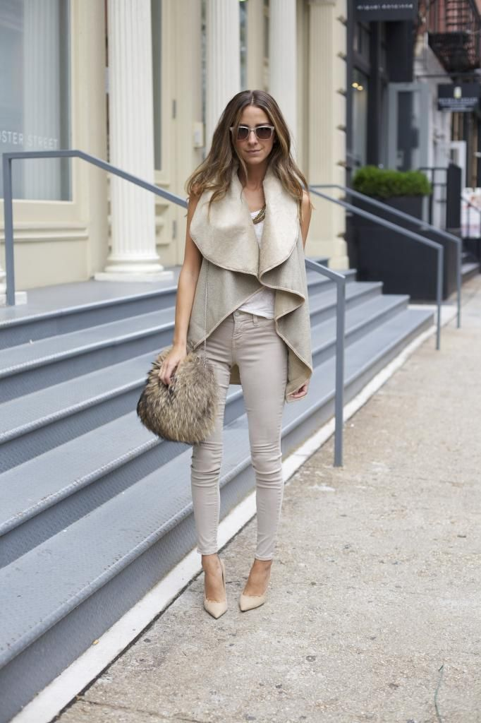 Oatmeal colored outfit.
