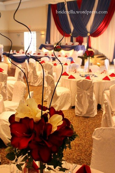 navy blue and red wedding centerpieces | red white blue wedding centerpiece Posted in Real Weddings Tagged ...  i like the drapes in the back wall..far