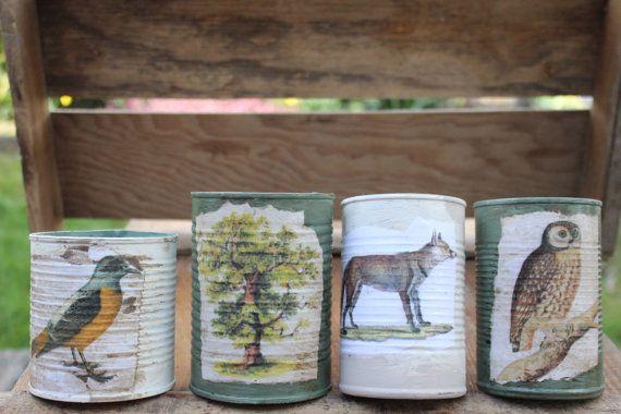 Sage green Table Centerpiece vintage can candle von VintageLizy
