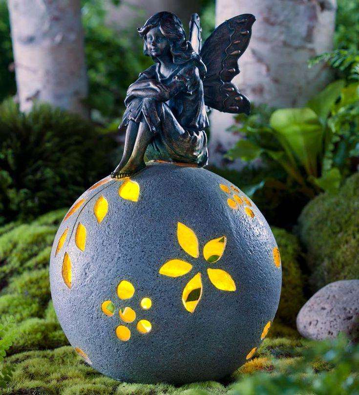 Resin Fairy On Glowing Globe Garden Statue In Garden Sculptures