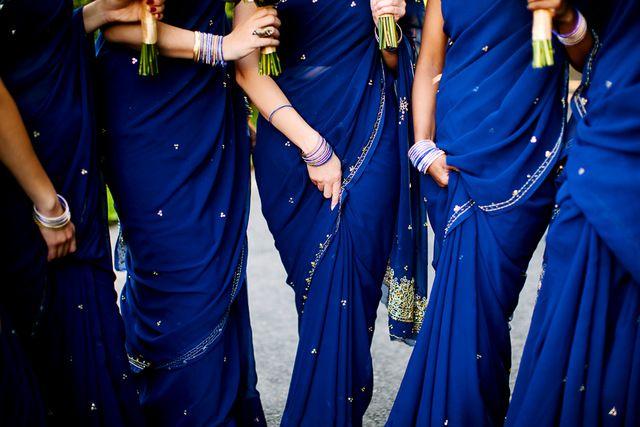 Jewish-Sri Lankan Brooklyn Wedding   Daniel Usenko Photography on ohlovelyday.com #blue #saris #bridesmaids