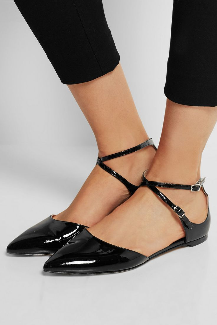 Buy Gianvito Rossi Women's Black Pointed-Toe Patent-Leather Flats, starting  at Similar products also available.