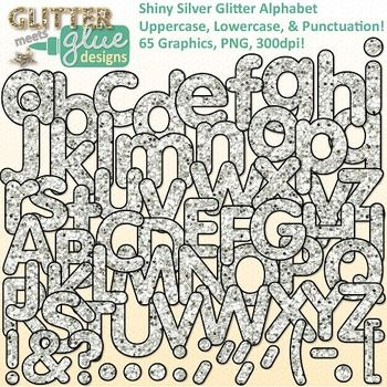 Shiny silver glitter alphabet clipart for Christmas has never been so sparkly! Would you like to get your elementary school-aged kids excited about reading and writing? Looking for a way to freshen up your Literacy/ELA TPT seller products? What's not to love about letters with a little bling?