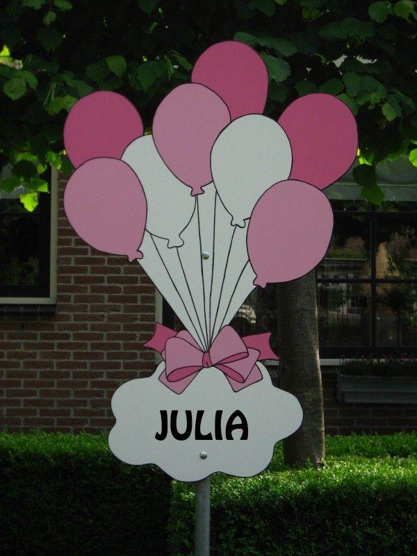 geboorteborden roze ballonnen met naambord geboorteborden roze ...