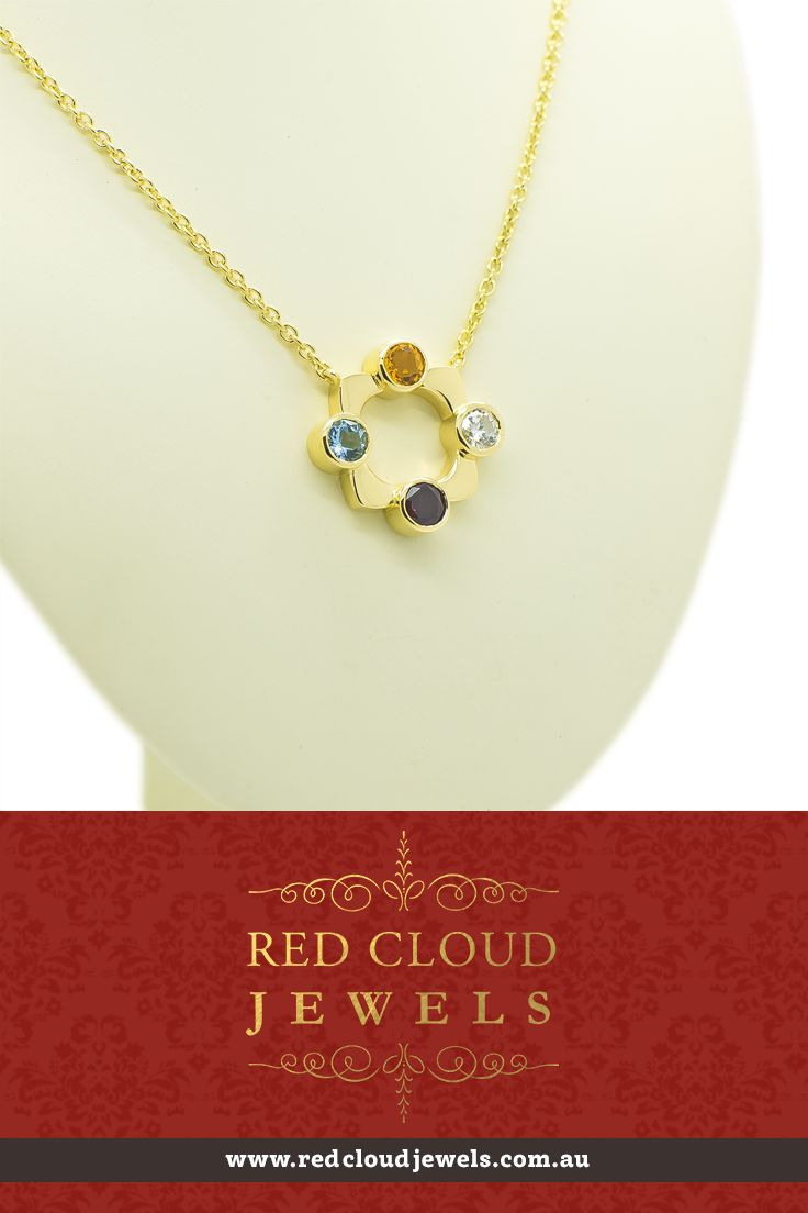 For this 18ct yellow gold pendant and necklace we used diamond (right), garnet (bottom), aquamarine (left) and citrine (top) stones, representing the birthstone of each family member. | Outstanding Jewellery for Outstanding Individuals | www.redcloudjewels.com.au