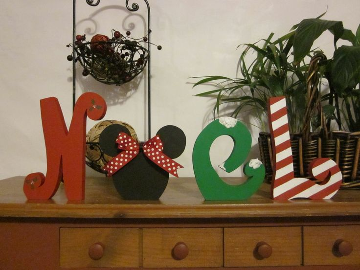 Christmas decoration wood letters Noel disney Christmas gift.