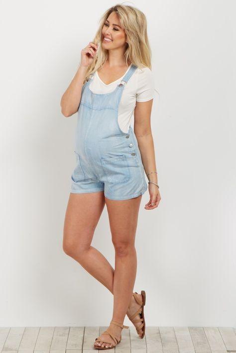 d20506bb3f0eb Light Blue Denim Maternity Overall Shorts | Owl | Maternity Fashion ...