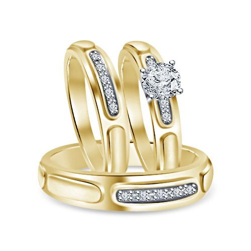 6MM Solitaire Sim Diamond 9kt Yellow Gold Finish Over His & Her Trio Ring Set #br925silverczjewelry #SolitaireWithAccentsRing