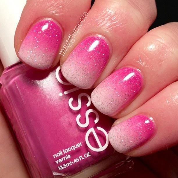 Pink gradient nail art. #nails