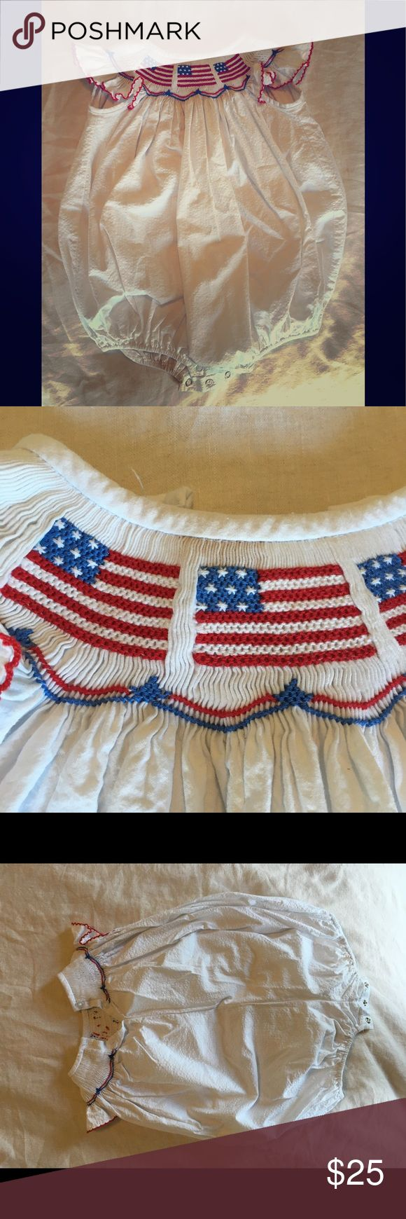 Adorable Smocked American Flag Bubble Adorable Smocked American Flag Bubble, perfect for Memorial Day Parades and 4th of July!   Very light stain as pictured, on the front and snap area, as pictured.  Purchased originally at Smocked Auctions Classic Whimsy One Pieces