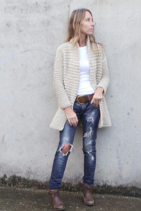 oatmeal knitted jacket swing jacket hand knit jacket by ileaiye