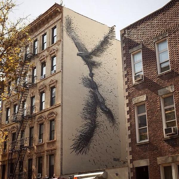 Street Art @GoogleStreetArt shared on Twitter ~ Artist @daleast extraordinary new large scale nature in Street Art mural located St.Marks, NYC #art #streetart pic.twitter.com/mV1q1O8OPq ><3<