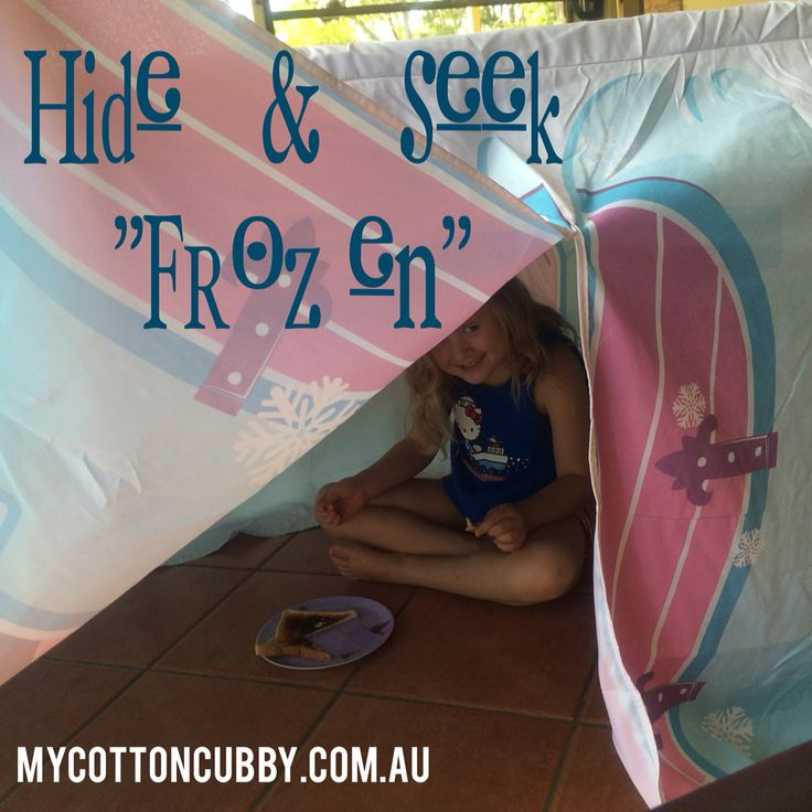 My cotton cubby. Tabletop cubbyhouse. Simply throw over a table and the fun begins. Frozen design. www.mycottoncubby.com.au