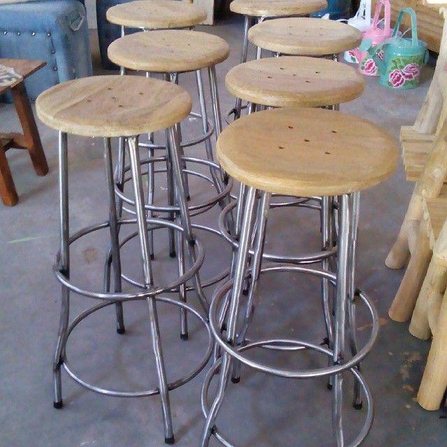 bar stool, iron & teak wood, size D:30cm T:170cm  industrial bar stool for sale, Alldecos Home decor, Jogja, Indonesia